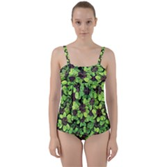 Lucky   Clover Design   Twist Front Tankini Set