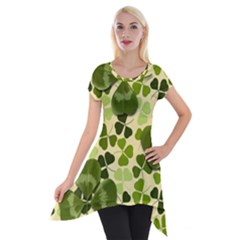 Drawn To Clovers Short Sleeve Side Drop Tunic