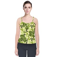 Drawn To Clovers Velvet Spaghetti Strap Top