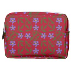 Red With Purple Flowers Make Up Pouch (medium)