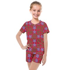 Red With Purple Flowers Kids  Mesh Tee And Shorts Set by snowwhitegirl