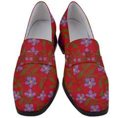 Red With Purple Flowers Women s Chunky Heel Loafers
