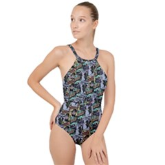 Comic Books Pattern High Neck One Piece Swimsuit