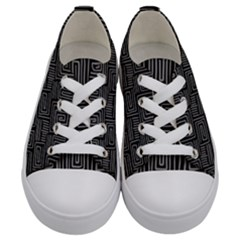 Gray Square Swirl Kids  Low Top Canvas Sneakers
