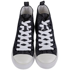 Gray Square Swirl Women s Mid Top Canvas Sneakers