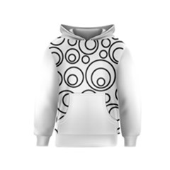 Abstract Black On White Circles Design Kids  Pullover Hoodie by LoolyElzayat