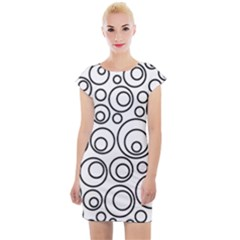 Abstract Black On White Circles Design Cap Sleeve Bodycon Dress by LoolyElzayat