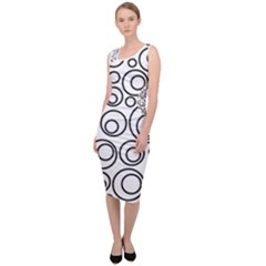 Abstract Black On White Circles Design Sleeveless Pencil Dress by LoolyElzayat