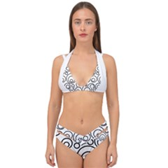 Abstract Black On White Circles Design Double Strap Halter Bikini Set by LoolyElzayat