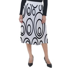 Abstract Black On White Circles Design Classic Velour Midi Skirt  by LoolyElzayat