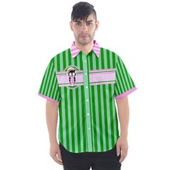 Candy Green Stripes 01 Men s Short Sleeve Shirt