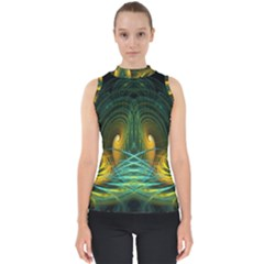 Fractal Jwildfire Scifi Mock Neck Shell Top