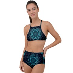 Ornament District Turquoise High Waist Tankini Set by Pakrebo