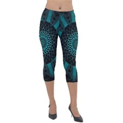 Ornament District Turquoise Lightweight Velour Capri Leggings