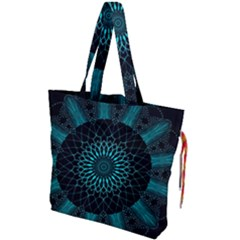 Ornament District Turquoise Drawstring Tote Bag