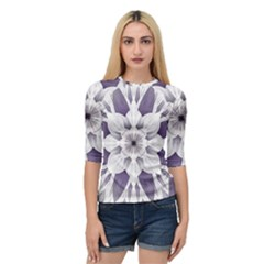 Fractal Floral Pattern Decorative Quarter Sleeve Raglan Tee by Pakrebo