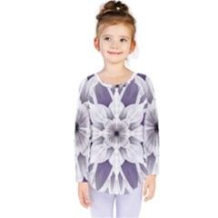 Fractal Floral Pattern Decorative Kids  Long Sleeve Tee