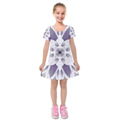 Fractal Floral Pattern Decorative Kids  Short Sleeve Velvet Dress