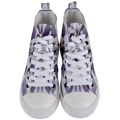 Fractal Floral Pattern Decorative Women s Mid Top Canvas Sneakers