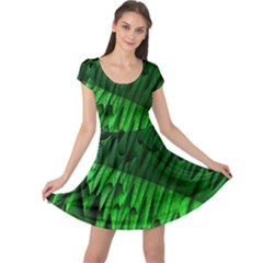 Fractal Rendering Background Green Cap Sleeve Dress