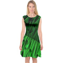 Fractal Rendering Background Green Capsleeve Midi Dress