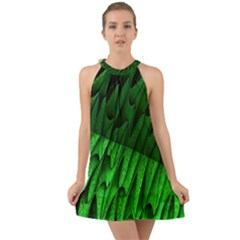 Fractal Rendering Background Green Halter Tie Back Chiffon Dress by Pakrebo
