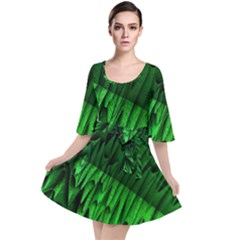 Fractal Rendering Background Green Velour Kimono Dress