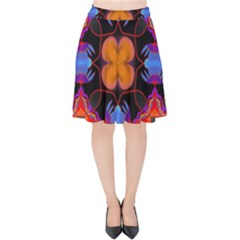 Ornament Colorful Color Background Velvet High Waist Skirt