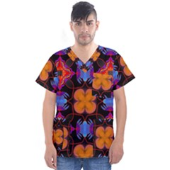 Ornament Colorful Color Background Men s V Neck Scrub Top
