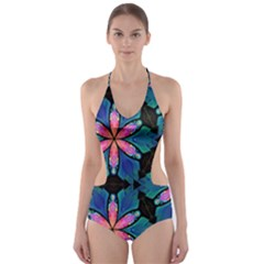 Ornament Digital Color Colorful Cut Out One Piece Swimsuit