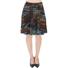 Building Ruins Old Industry Velvet High Waist Skirt by Pakrebo