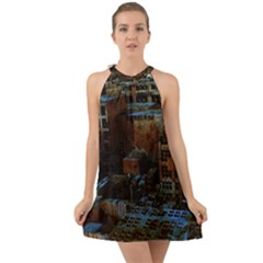 Building Ruins Old Industry Halter Tie Back Chiffon Dress