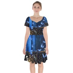 Butterflies Essence Short Sleeve Bardot Dress