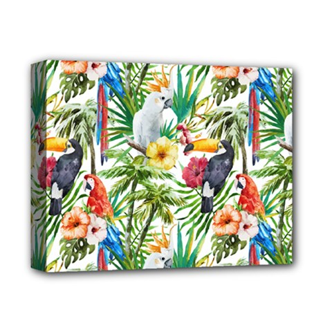 Tropical Parrots Pattern Deluxe Canvas 14  X 11  (stretched)