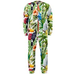 Tropical Parrots Pattern Onepiece Jumpsuit (men)  by goljakoff