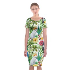 Tropical Parrots Pattern Classic Short Sleeve Midi Dress by goljakoff
