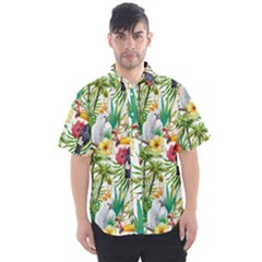 Tropical Parrots Pattern Men s Short Sleeve Shirt