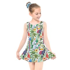 Tropical Parrots Pattern Kids  Skater Dress Swimsuit by goljakoff