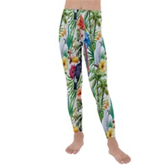 Tropical Parrots Pattern Kids  Lightweight Velour Leggings by goljakoff