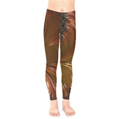Fractal Copper Copper Color Leaf Kids  Legging