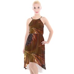 Fractal Copper Copper Color Leaf High Low Halter Chiffon Dress