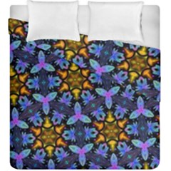 Blue Flowers Wallpaper Backgrounds Duvet Cover Double Side (king Size)