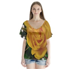 Yellow Rose V-neck Flutter Sleeve Top by Riverwoman