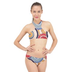 Traditinal Japanese Art High Neck Bikini Set by tarastyle