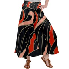 Traditinal Japanese Art Satin Palazzo Pants by tarastyle