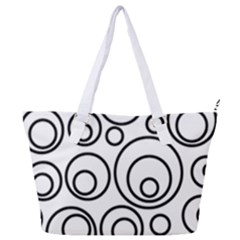 Abstract Black On White Circles Design White Full Print Shoulder Bag by LoolyElzayat