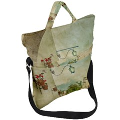 Vintage Grunge Print Arequipa Street, Peru Fold Over Handle Tote Bag by dflcprintsclothing
