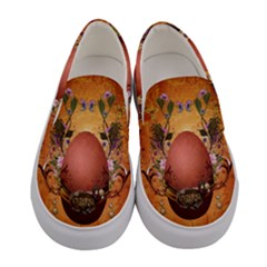 Wonderful Steampunk Easter Egg With Flowers Women s Canvas Slip Ons