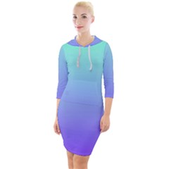 Turquoise Purple Dream Quarter Sleeve Hood Bodycon Dress by retrotoomoderndesigns
