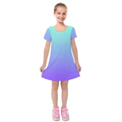 Turquoise Purple Dream Kids  Short Sleeve Velvet Dress by retrotoomoderndesigns
